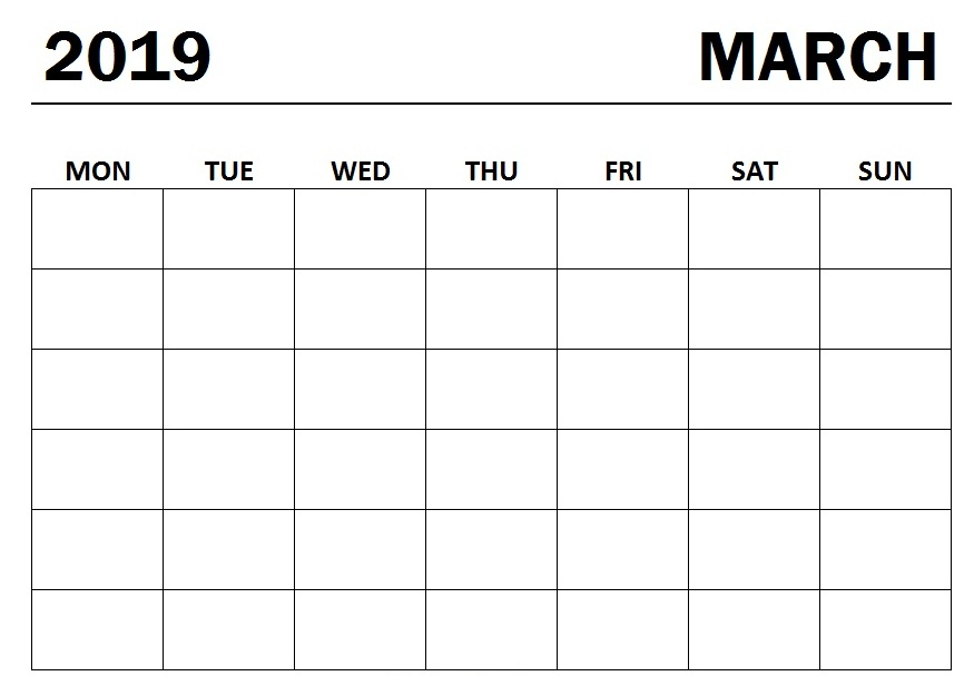 image relating to Calendar March Printable called Blank Printable Calendar March 2019 - Obtain Cost-free