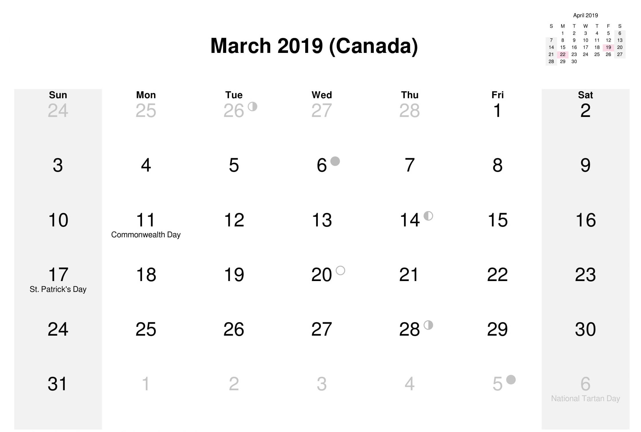 Canada Holidays Calendar March 2019