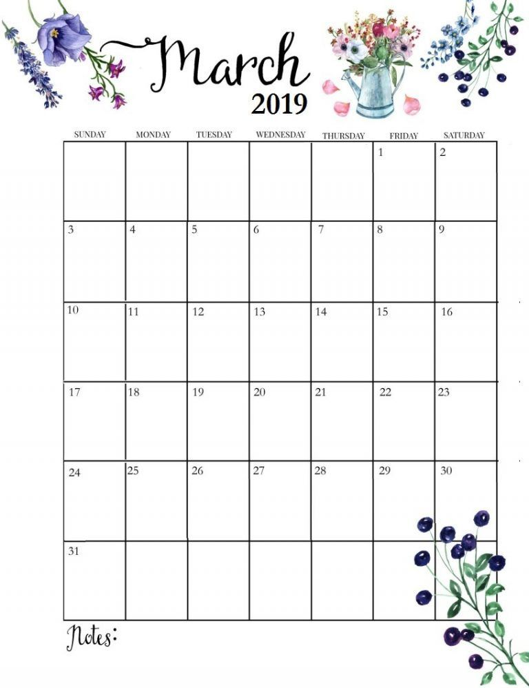 Cute Printable Calendar March 2019