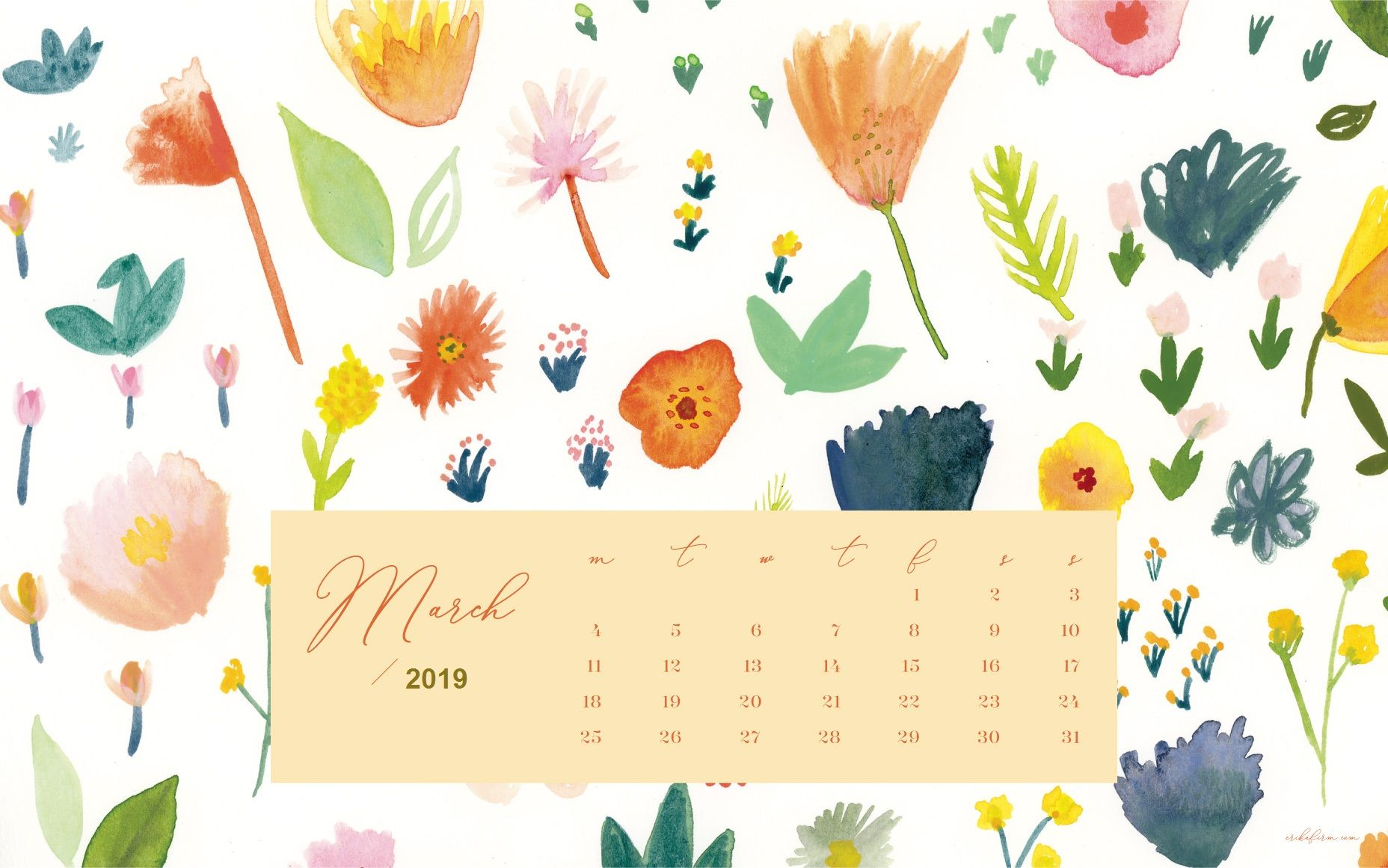 March 2019 Calendar Wallpaper Floral Background Screensaver