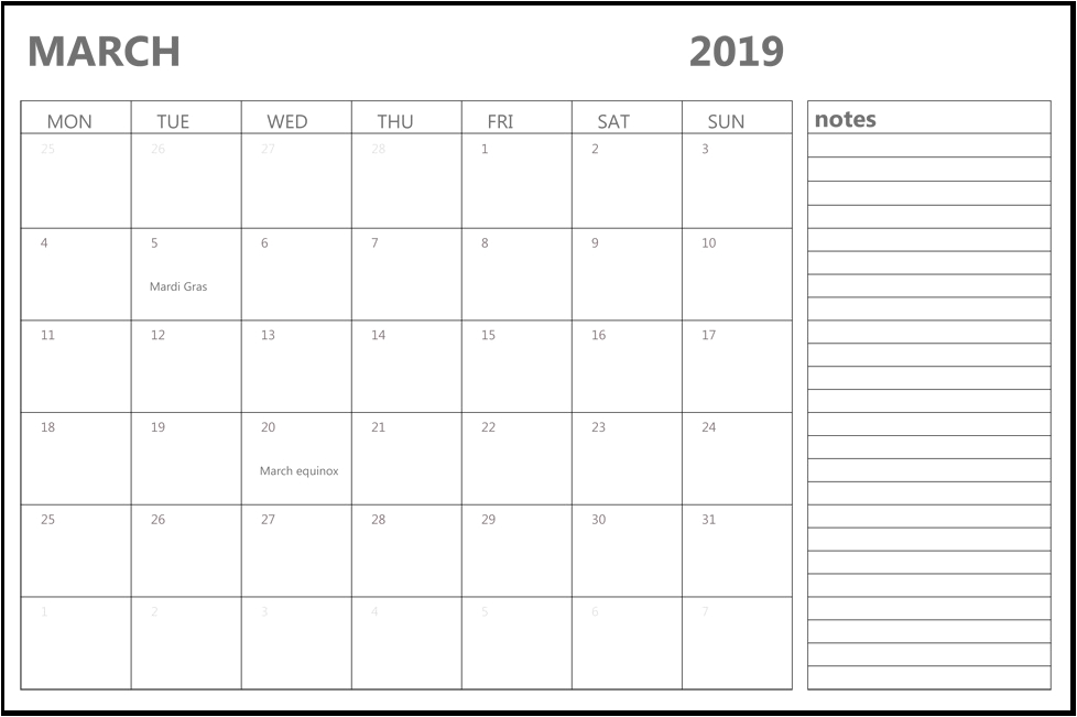 March 2019 Canada Holidays Calendar