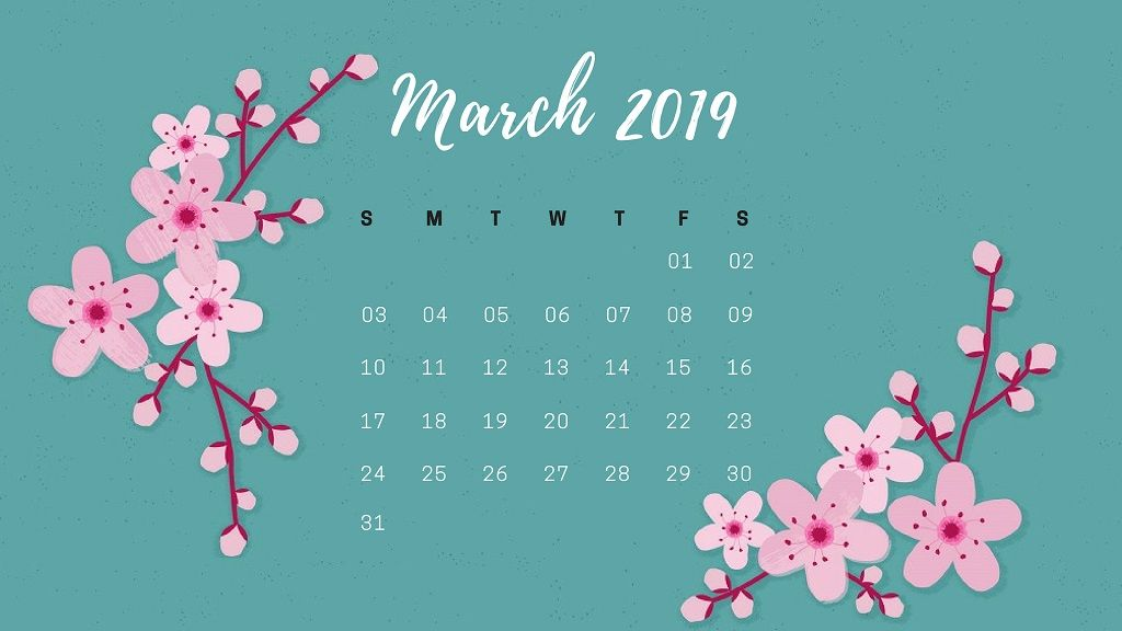 March 2019 Flower Calendar Wallpaper