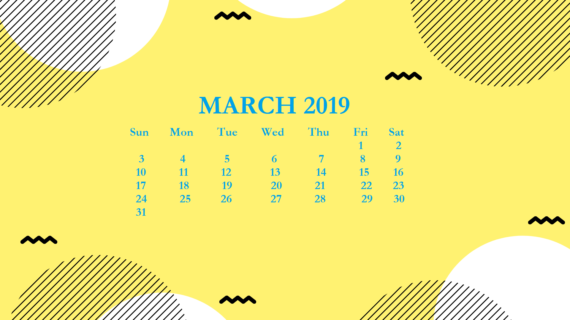 March 2019 HD Calendar Wallpaper