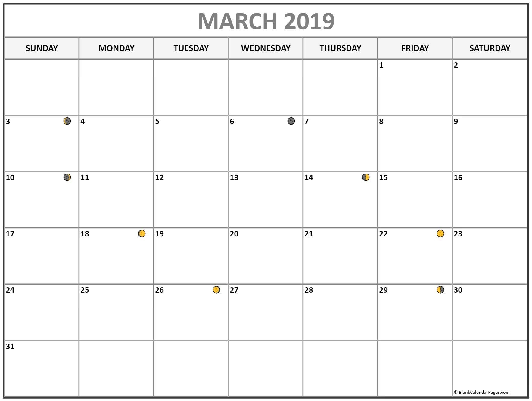 March 2019 New Moon Calendar
