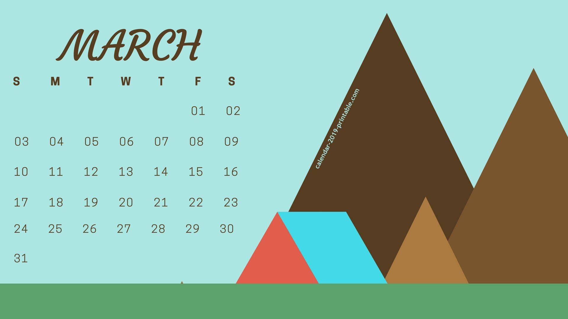 March 2019 PC Wallpaper Calendar