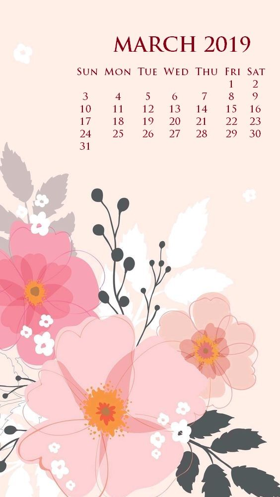 March 2019 iPhone Screen Saver Calendar Wallpaper