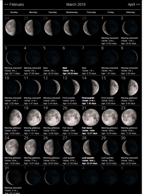 picture about Printable Moon Phases identified as Moon Stages March 2019 Calendar - Obtain Totally free Printable