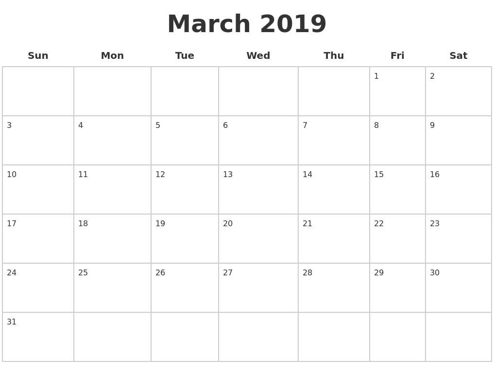 Printable Calendar March 2019 Landscape