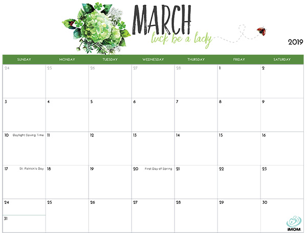 Printable Calendar March 2019 Template