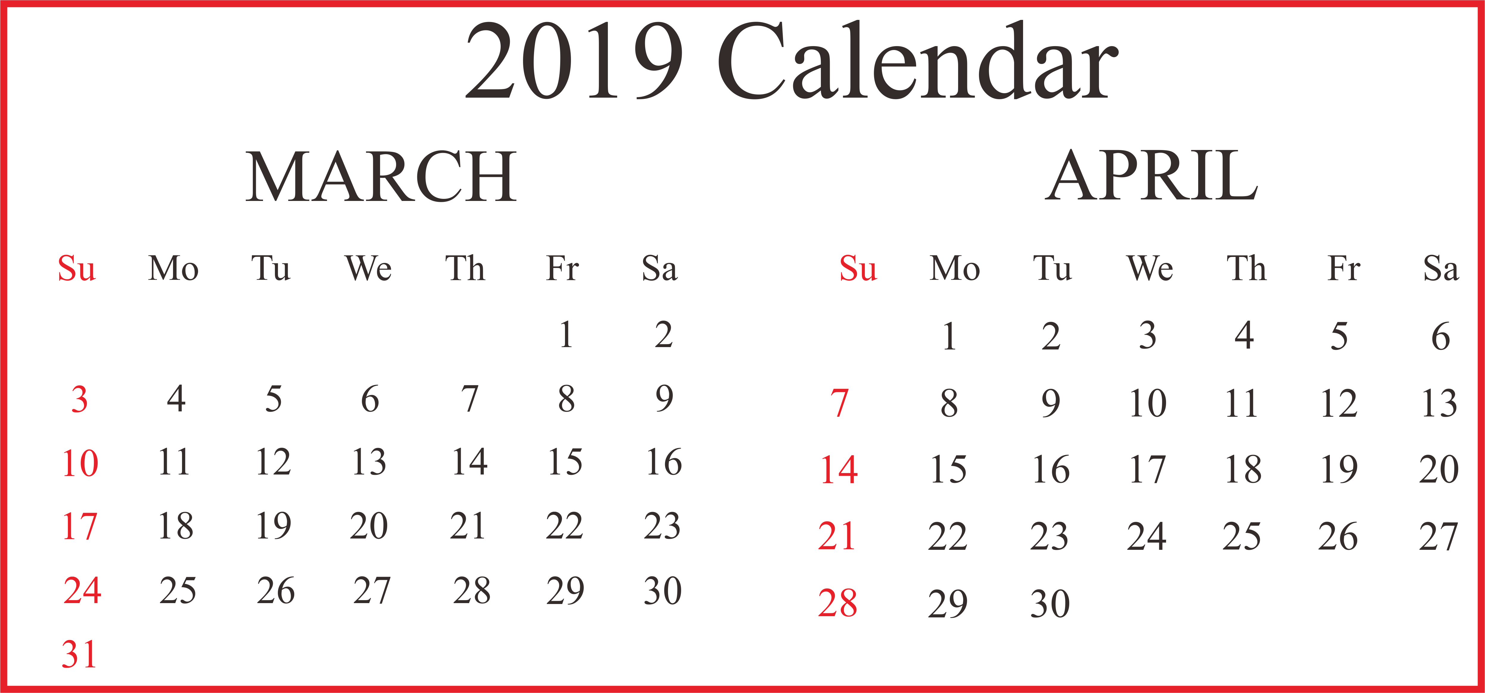 Printable Calendar March April 2019