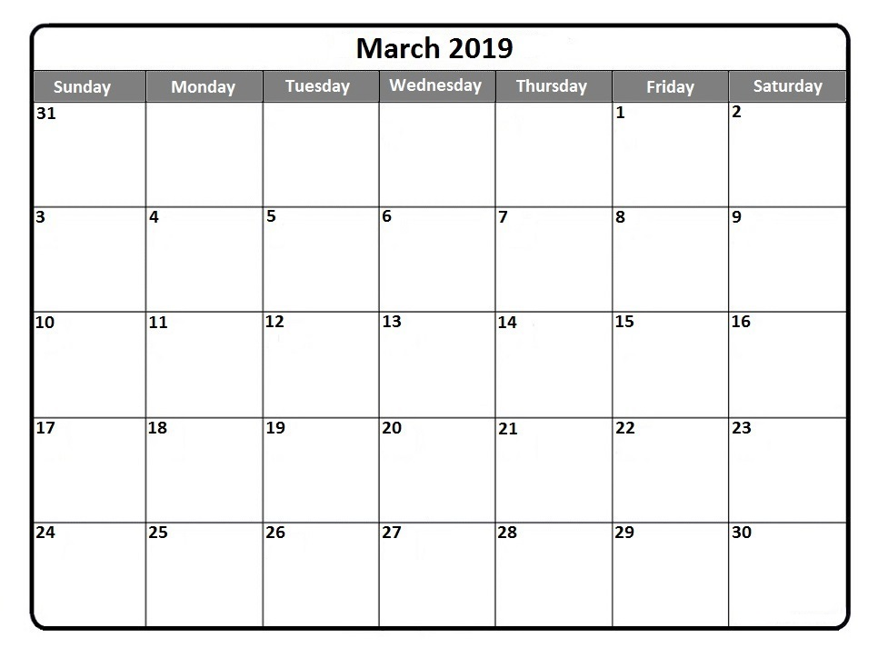 Printable Calendar March 2019.Printable Calendar Monthly March 2019 Download Free Printable