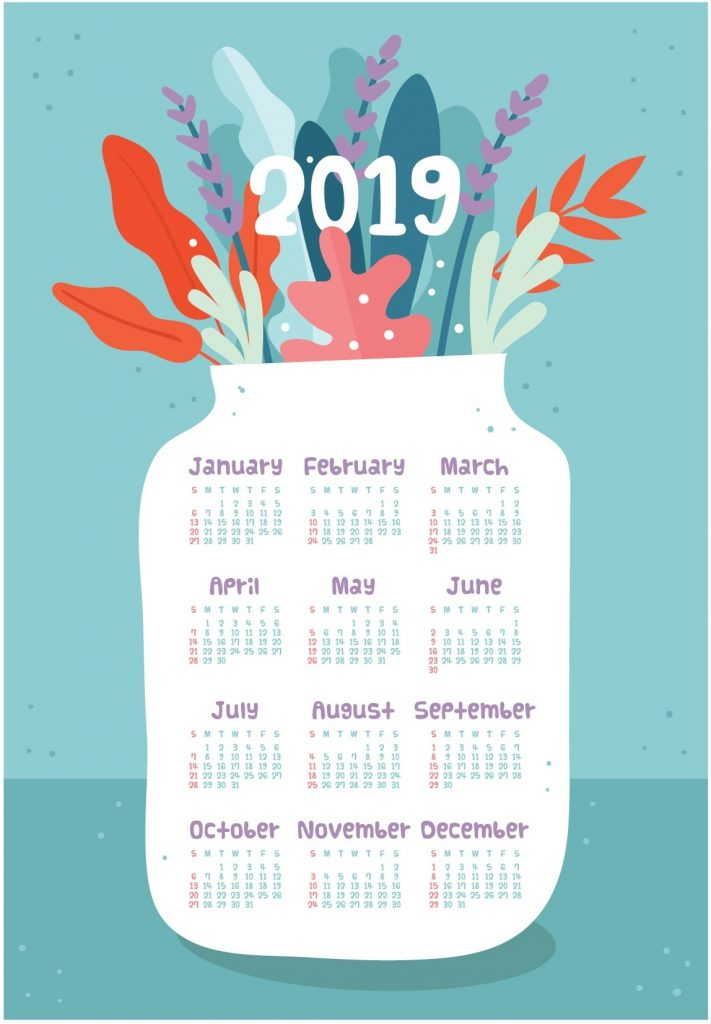 2019 One Page Yearly Calendar