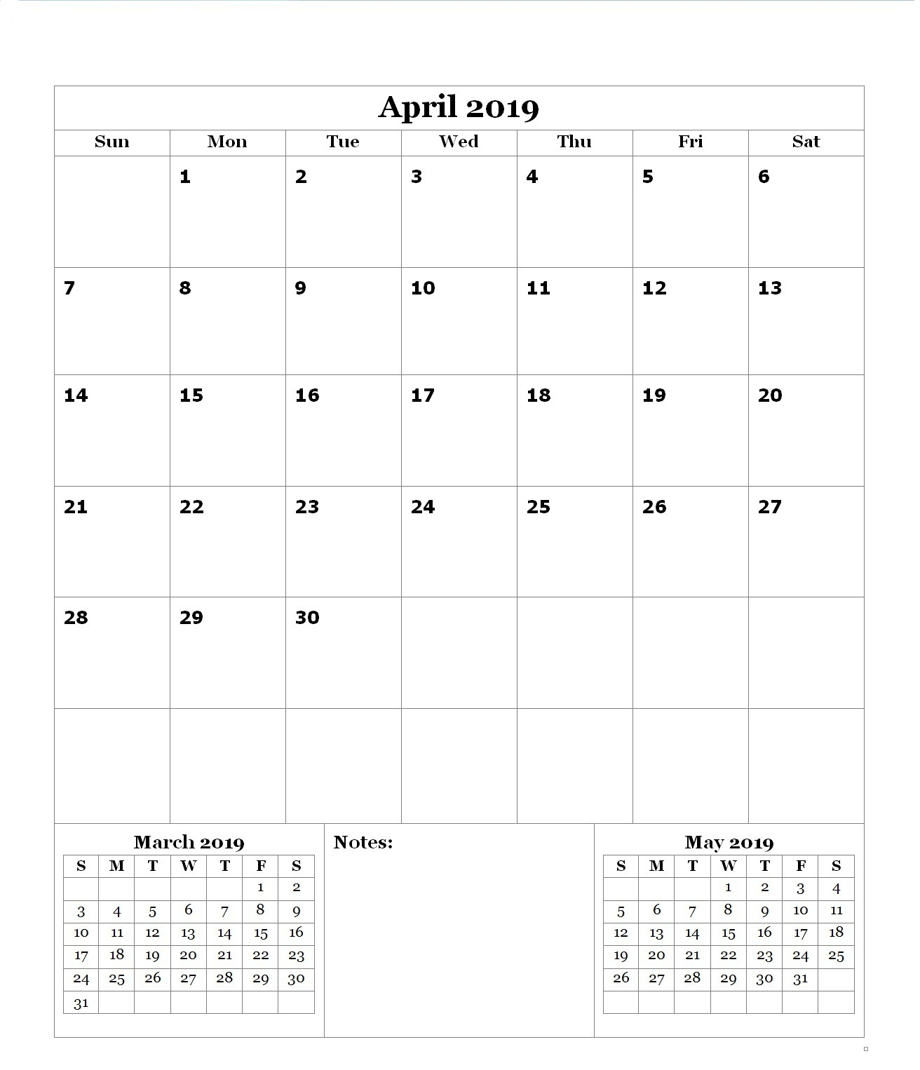 April 2019 Blank Calendar Download Free Printable Calendar