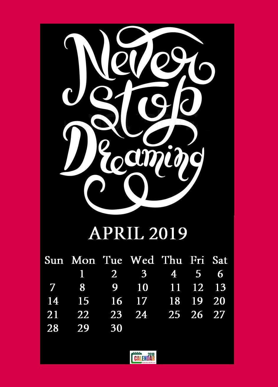 April 2019 Motivational Quotes Calendar