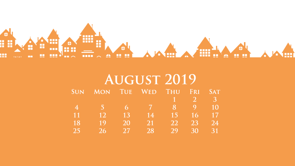 August 2019 HD Calendar Wallpaper