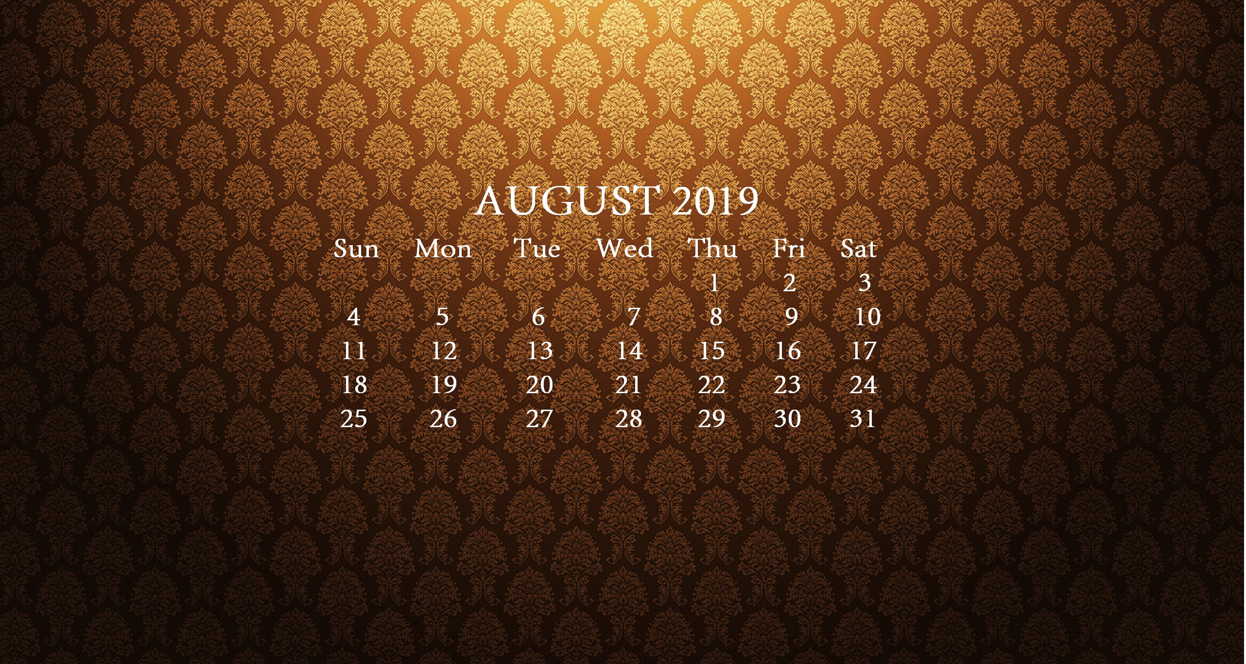 August 2019 HD Desktop Calendar Wallpaper