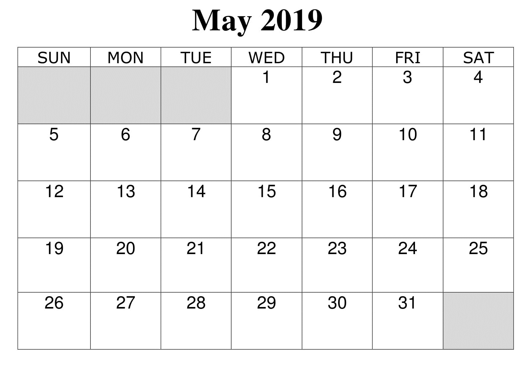 Blank May 2019 Calendar Monthly