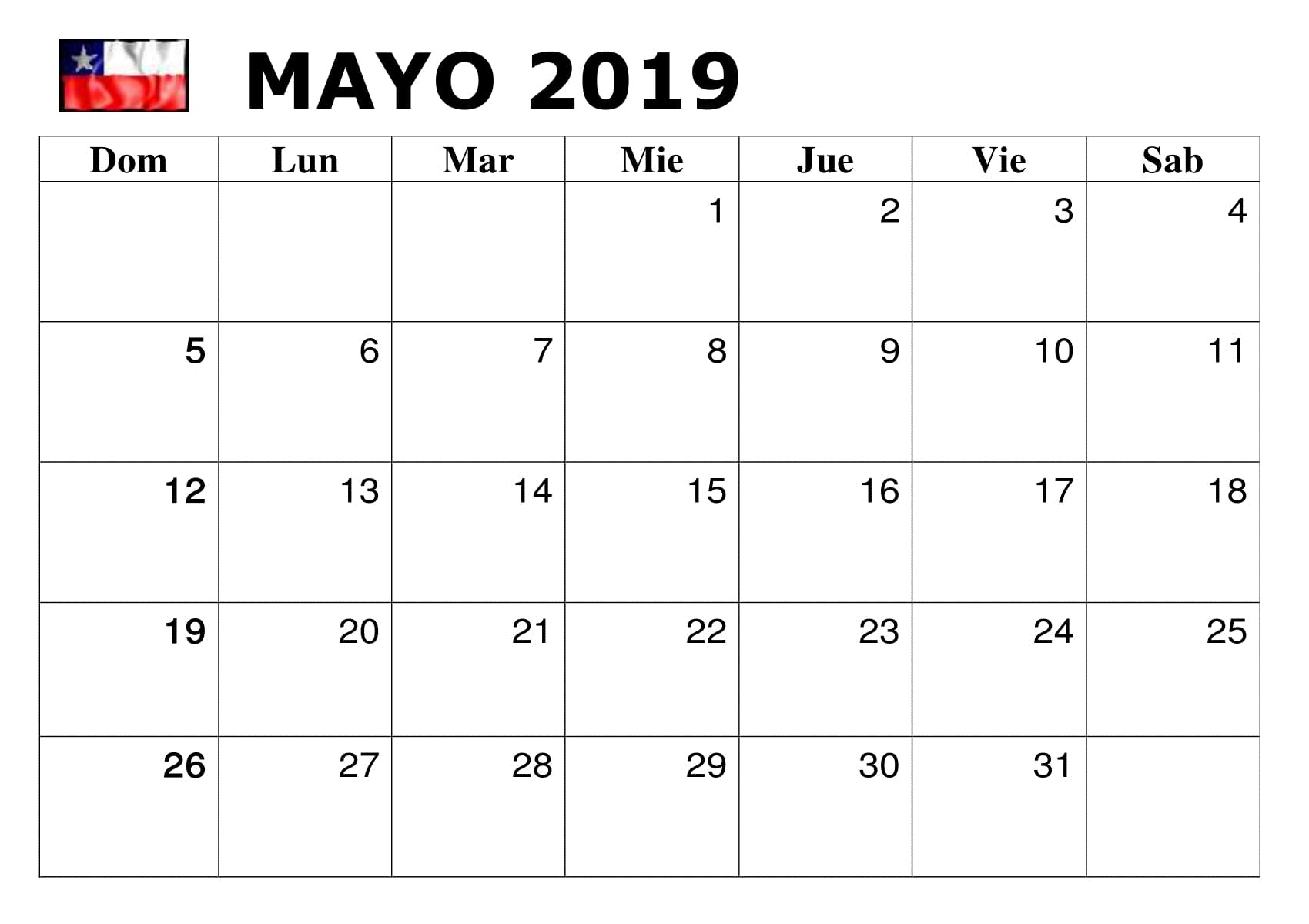 Calendario 2019 Chile Mensual Mayo