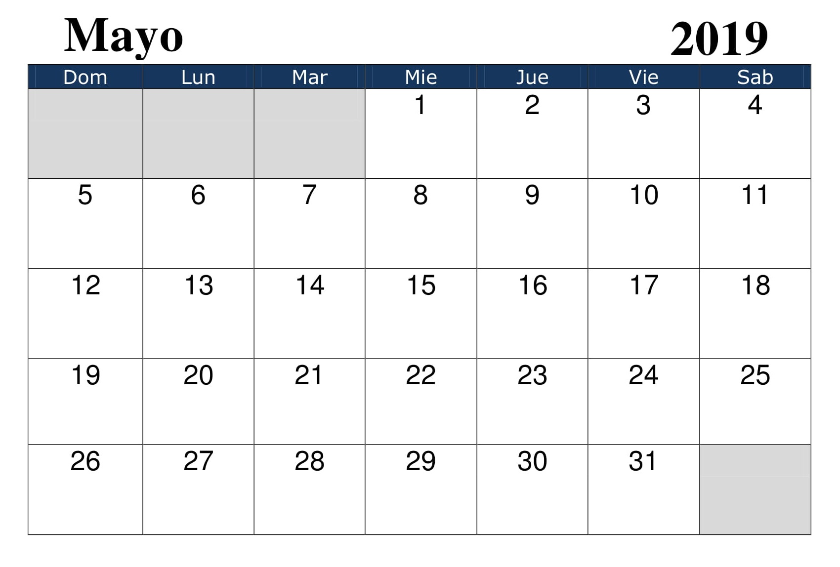 Calendario 2019 Mes A Mes.Calendario 2019 Mayo Word Download Free Printable Calendar Blank
