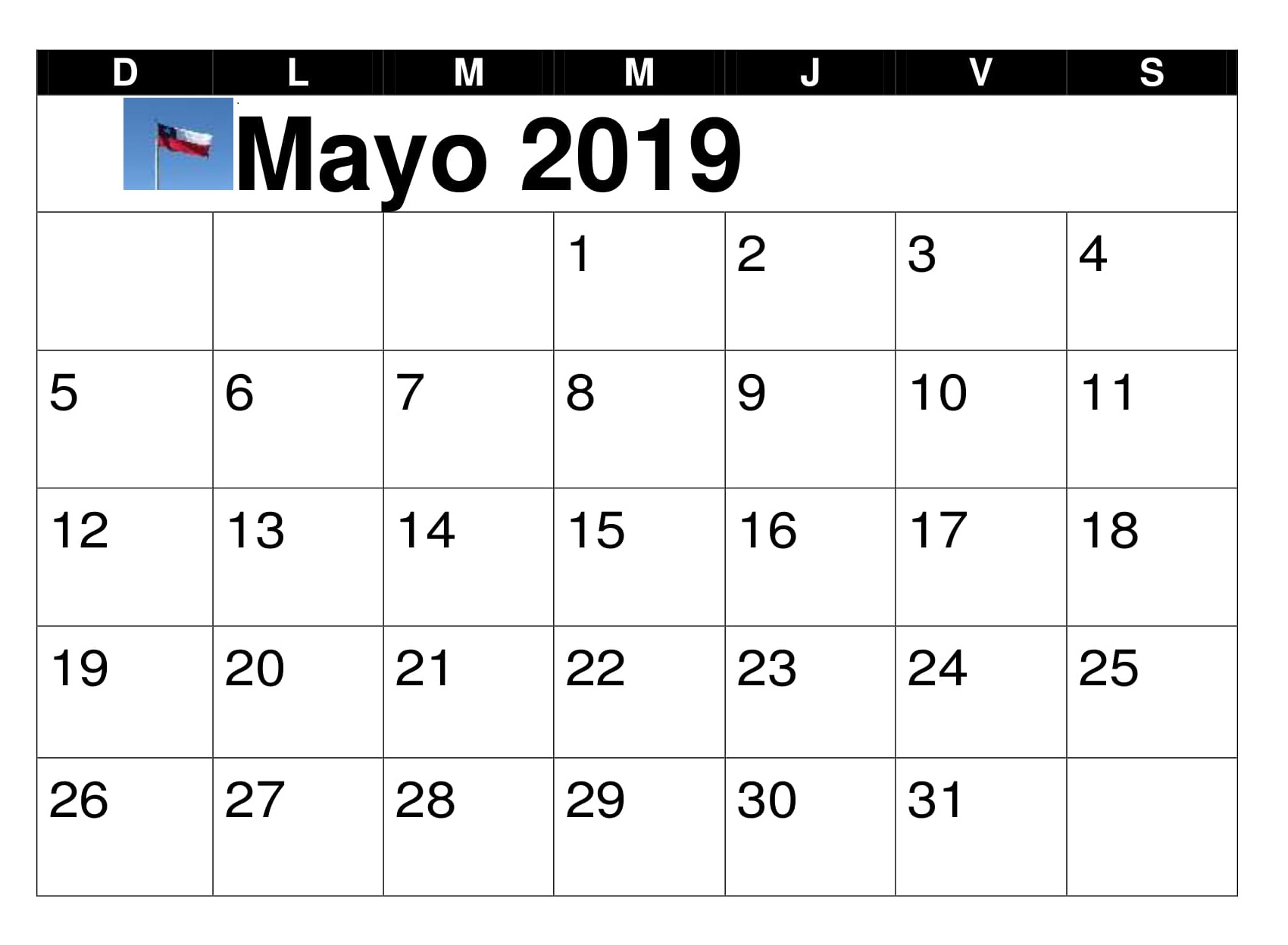 Calendario 2019 Mes A Mes.Calendario Mes Mayo Chile 2019 Download Free Printable Calendar