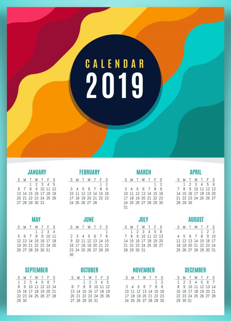 Cute 2019 Wall Calendar Printable