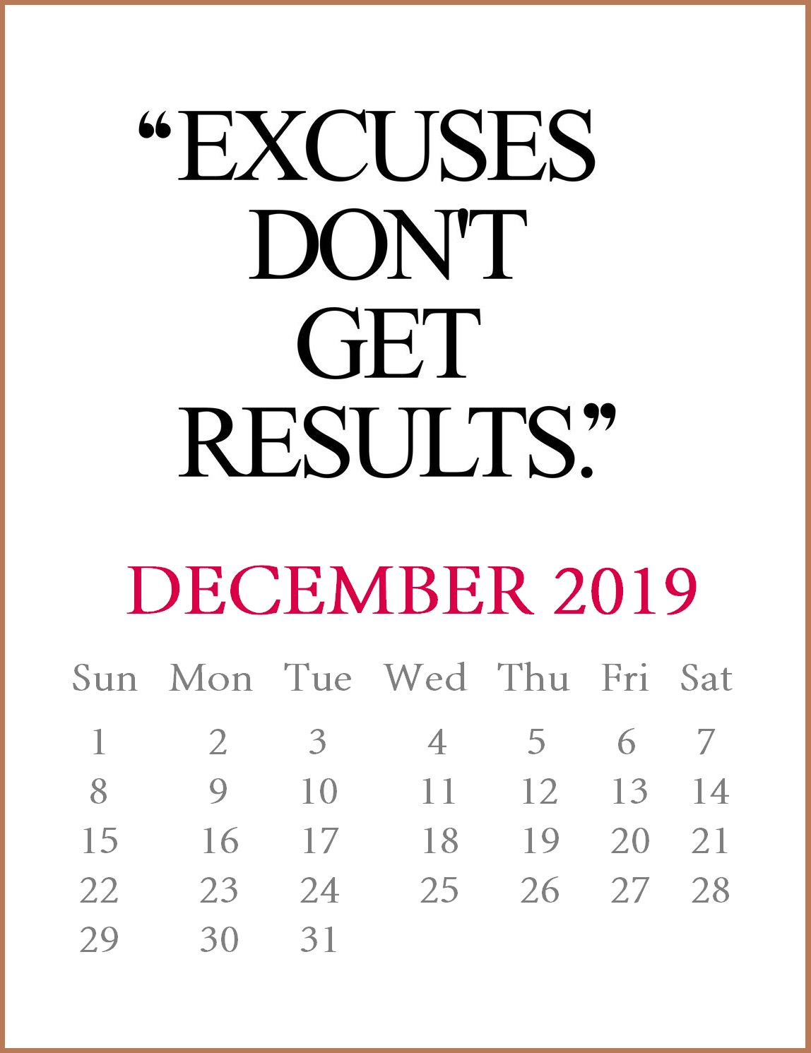 December 2019 Motivational Calendar Template