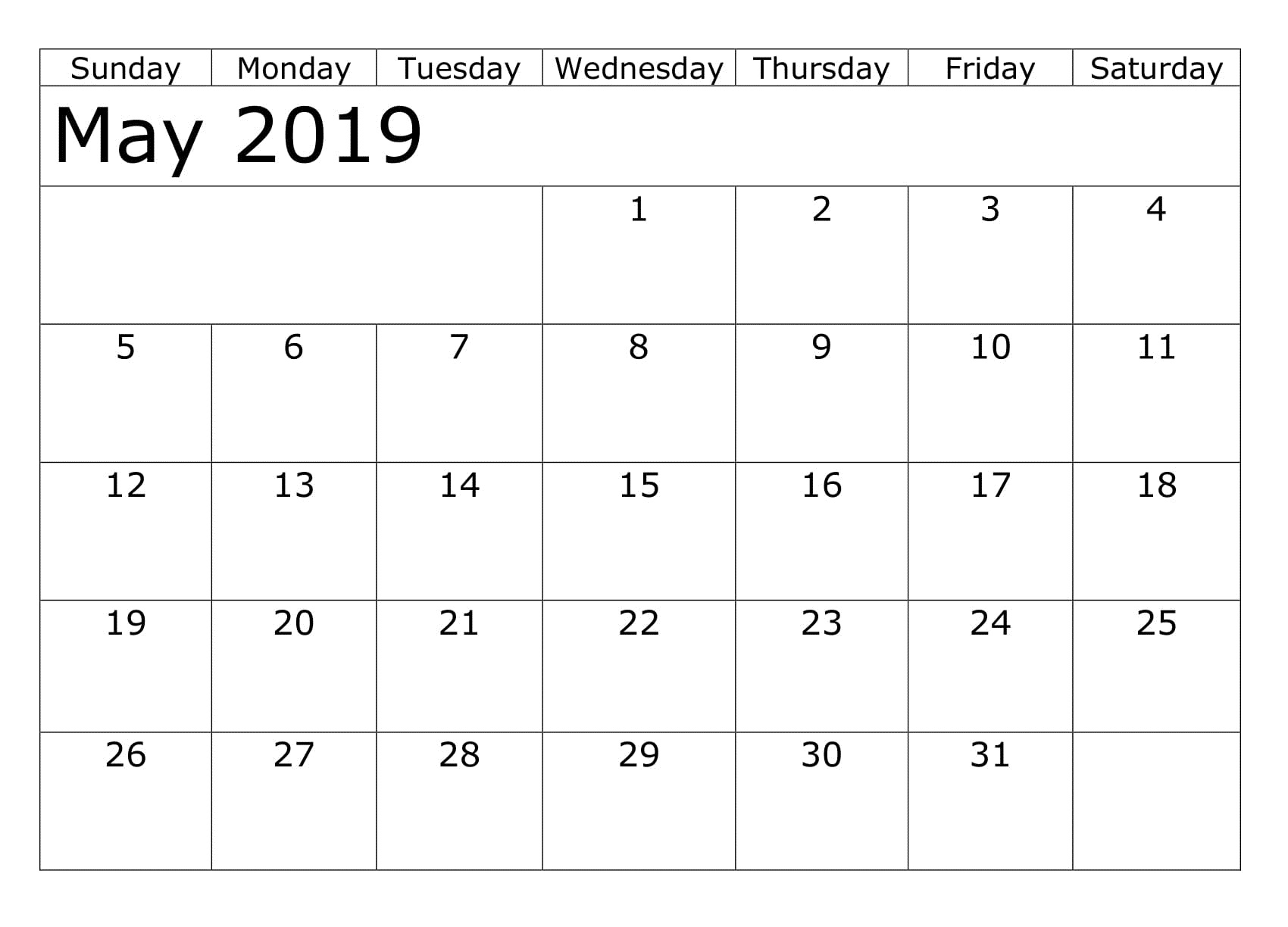 Download May 2019 Printable Calendar