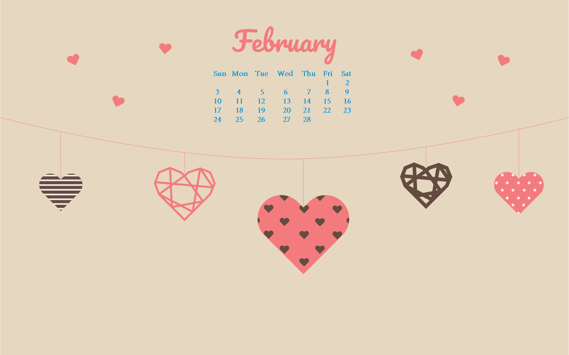 February 2019 HD Desktop Calendar Wallpaper