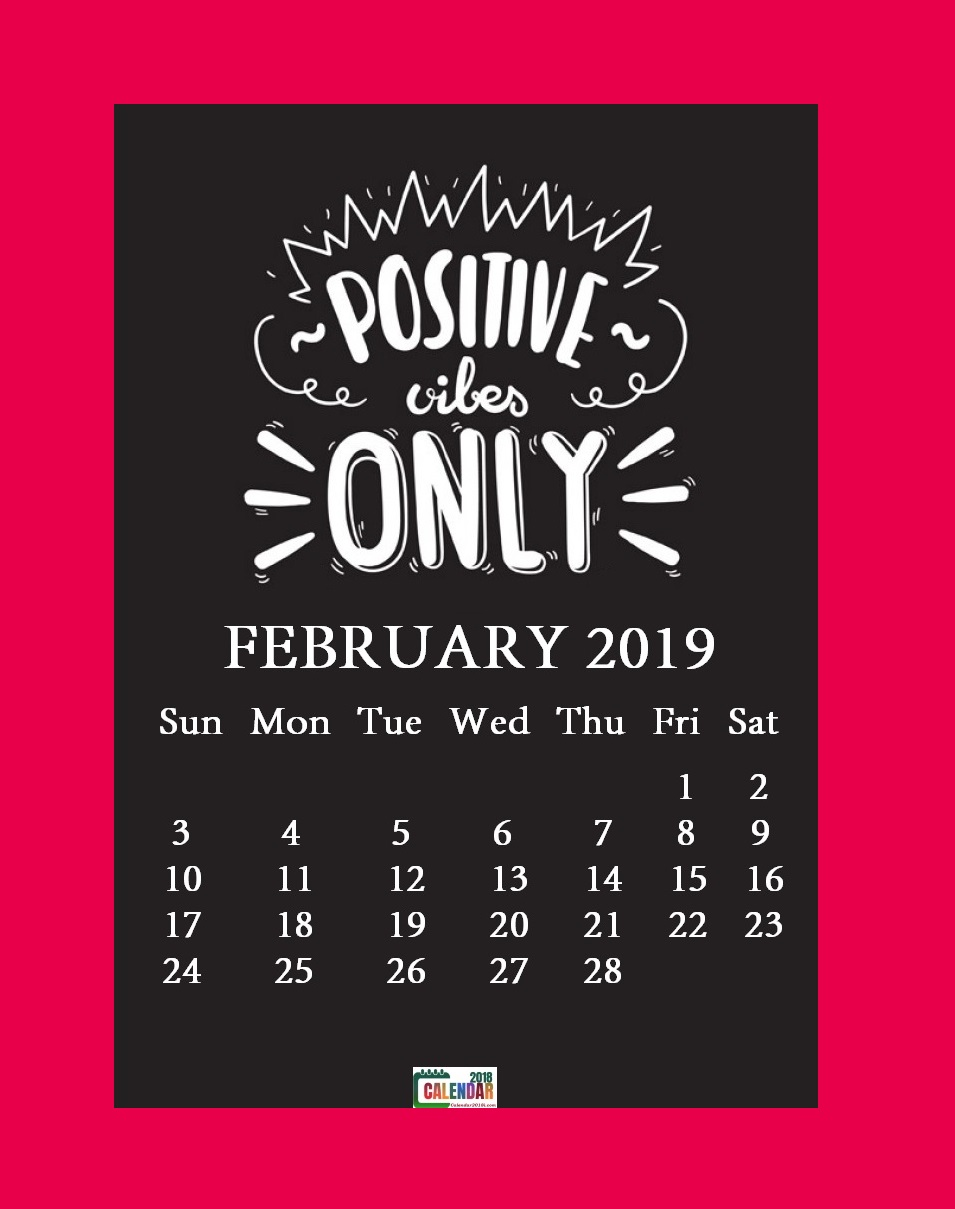 February 2019 Motivational Quotes Calendar