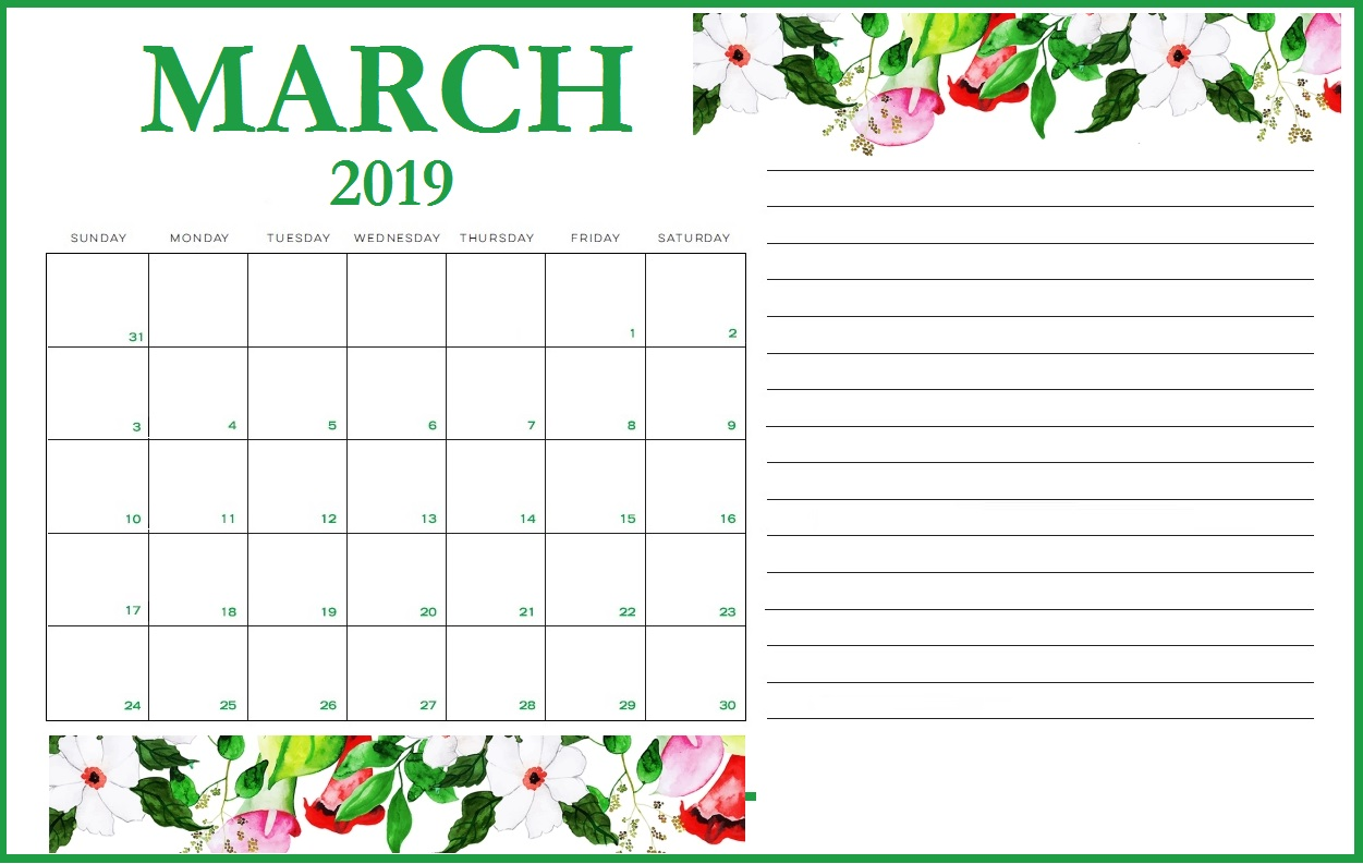 picture regarding Calendar March Printable called Floral March 2019 Printable Calendar - Obtain Free of charge