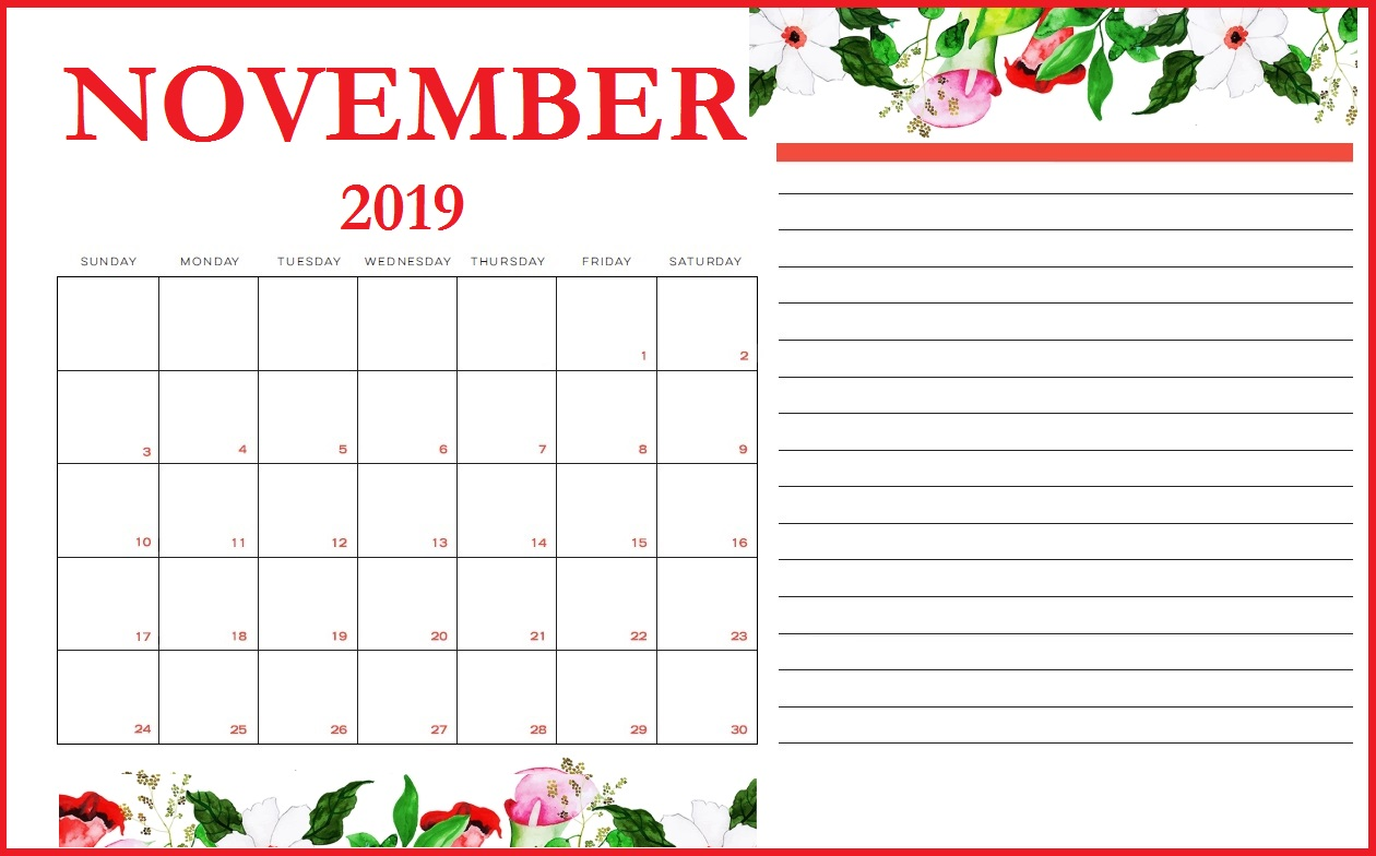 photo relating to Printable Calendar for November named Floral November 2019 Printable Calendar - Down load Free of charge
