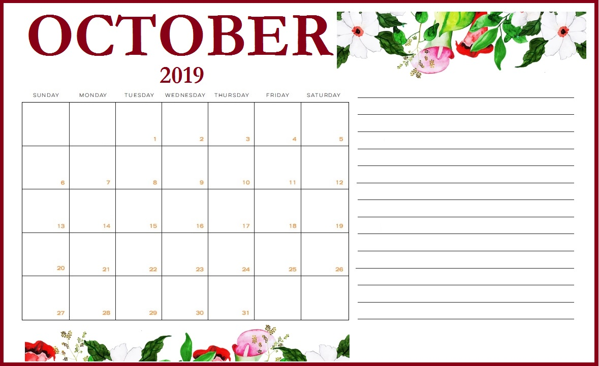 photo regarding Free Printable October Calendars known as Floral Oct 2019 Printable Calendar - Obtain No cost