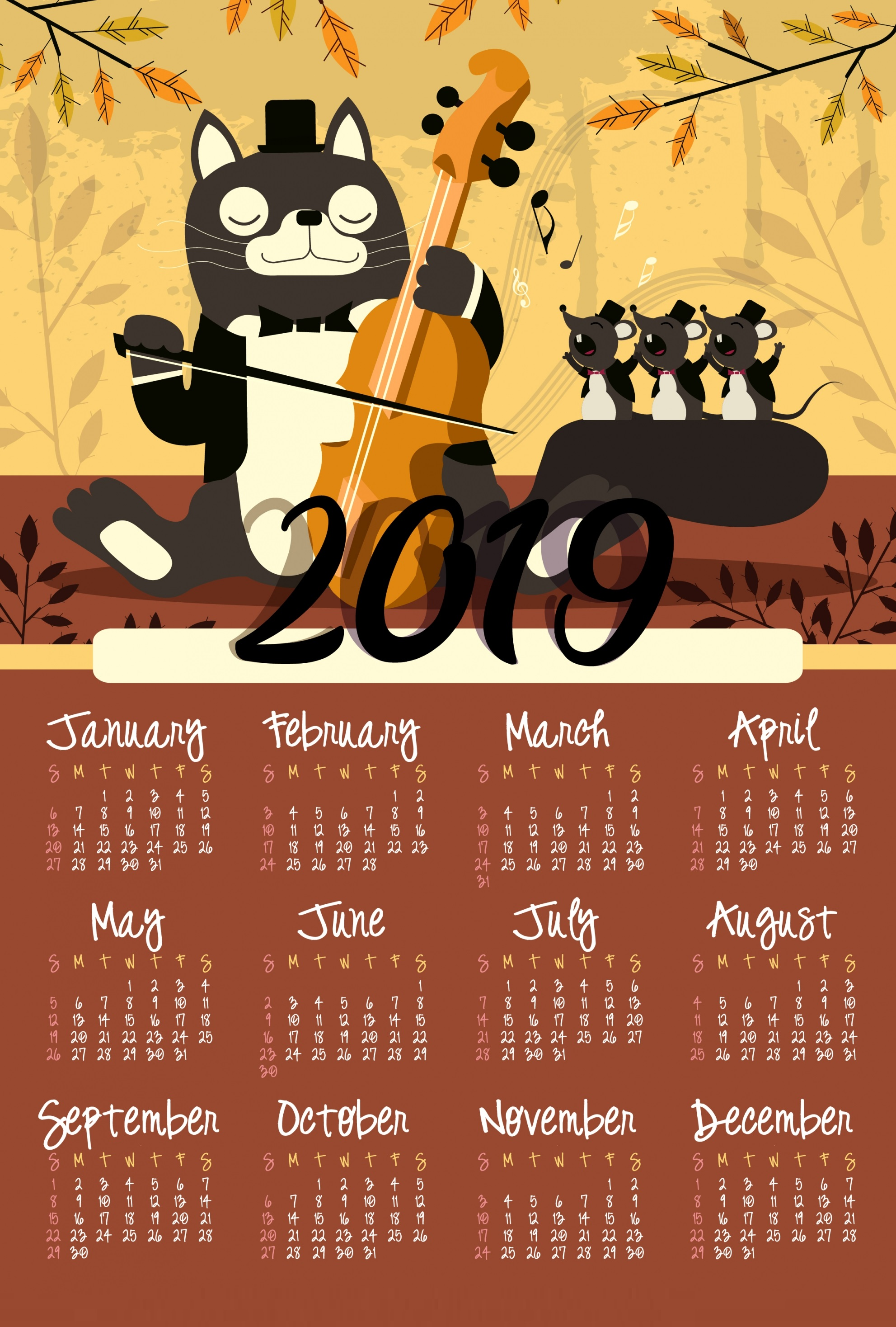 Free 2019 Desktop Calendar-Wallpaper
