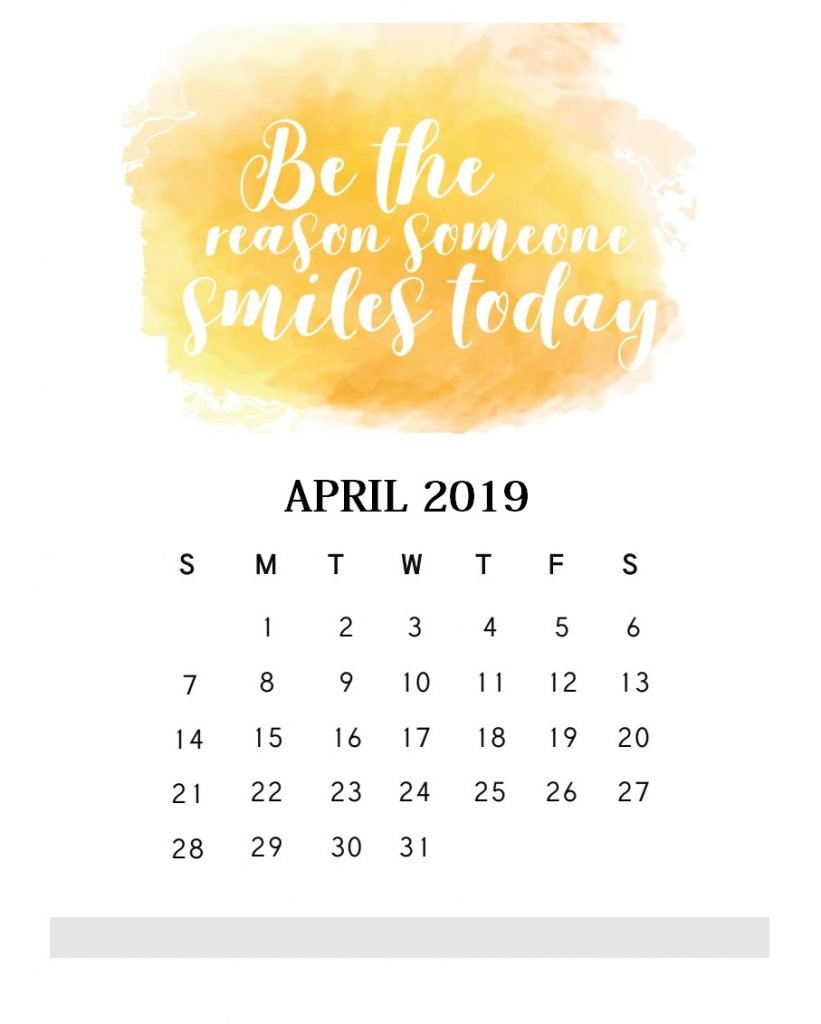 Inspirational April 2019 Quotes Calendar