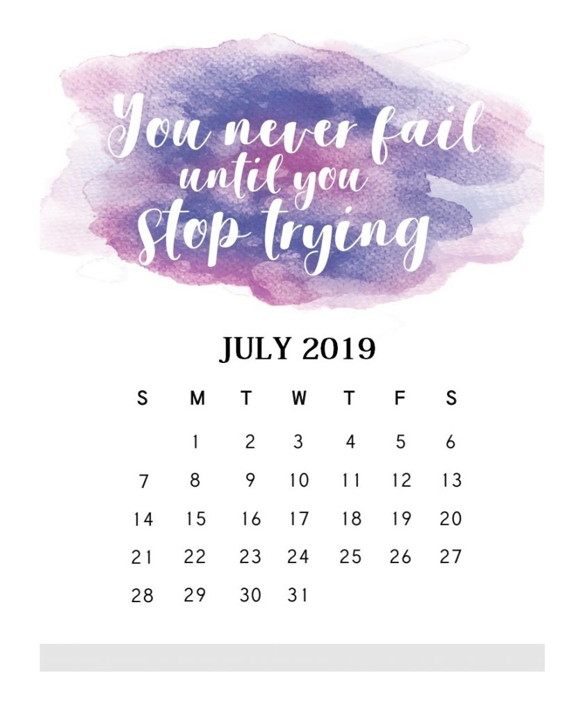 Inspirational July 2019 Quotes Calendar