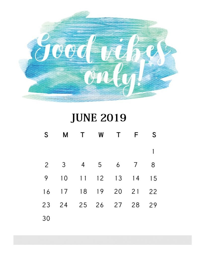 Inspirational June 2019 Quotes Calendar