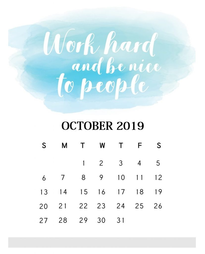 Inspirational October 2019 Quotes Calendar