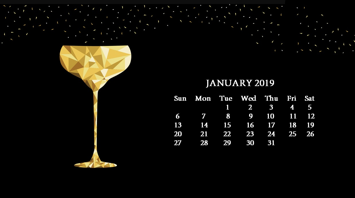 January 2019 HD Desktop Calendar Wallpaper