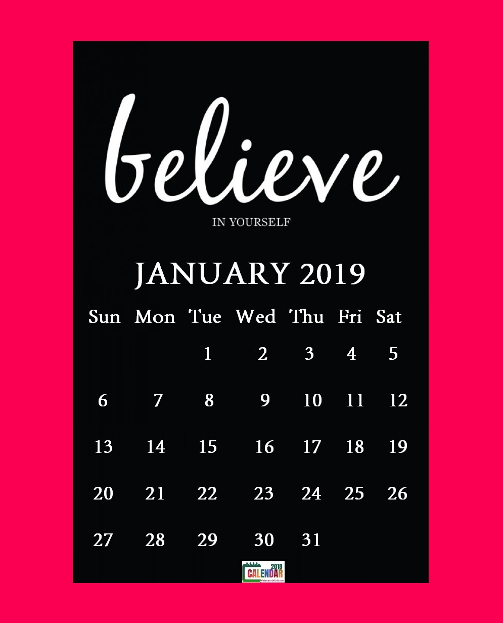 January 2019 Motivational Quotes Calendar