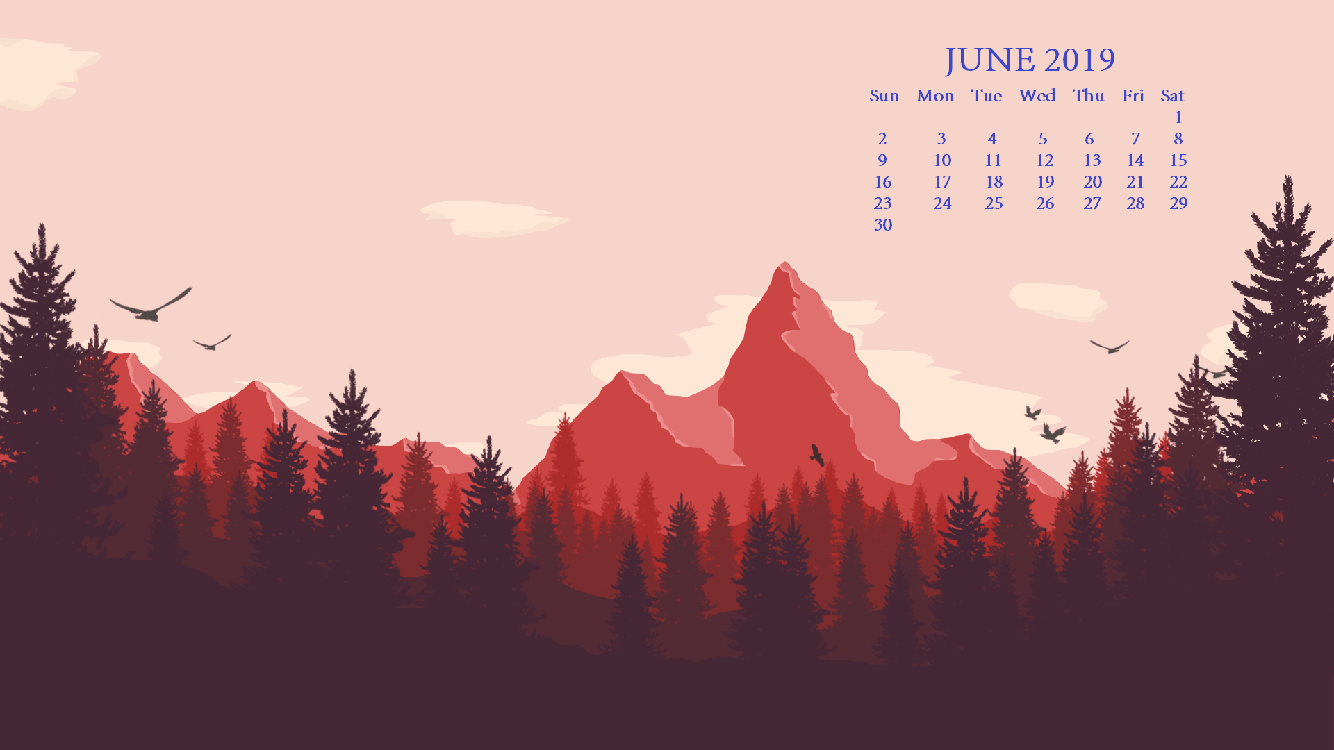 June 2019 HD Desktop Calendar Wallpaper