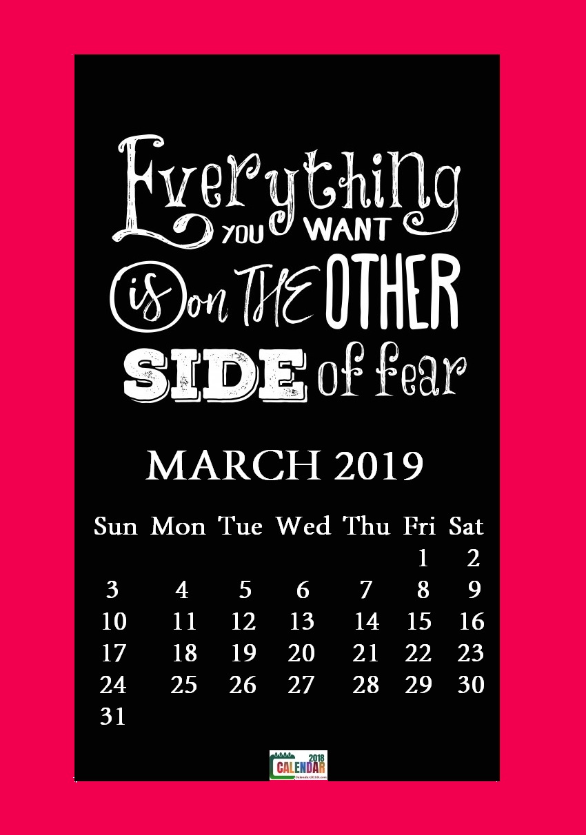 March 2019 Motivational Quotes Calendar