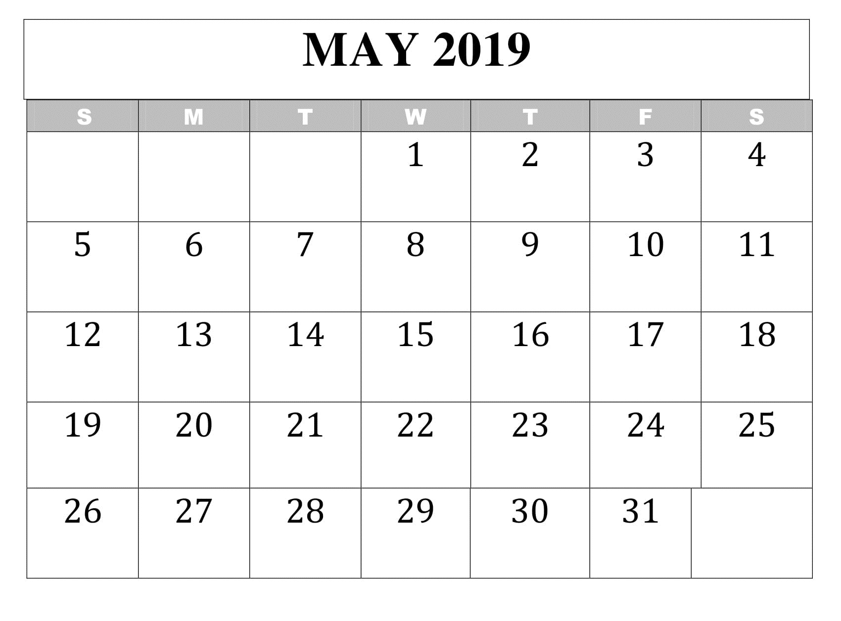 May 2019 Calendar Table Blank