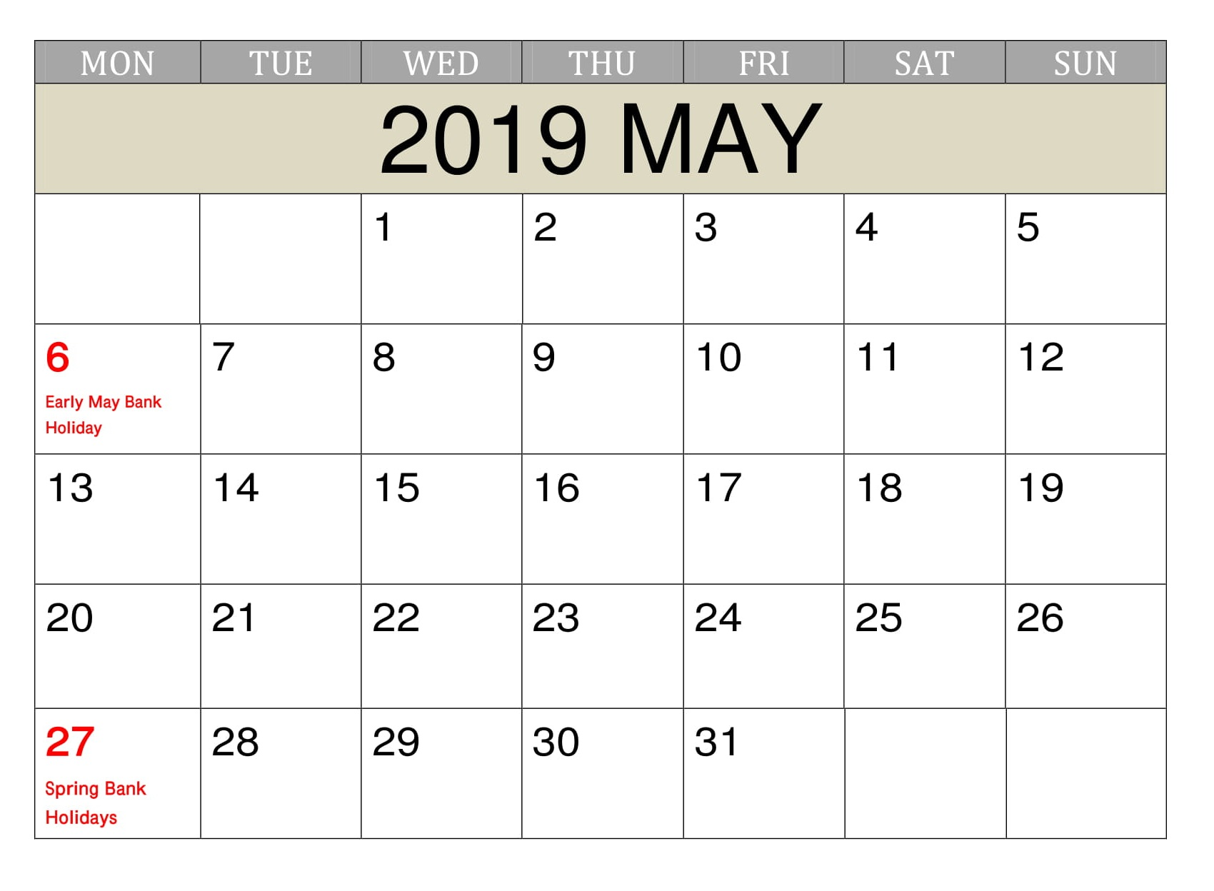 May 2019 Calendar With Holidays Printable