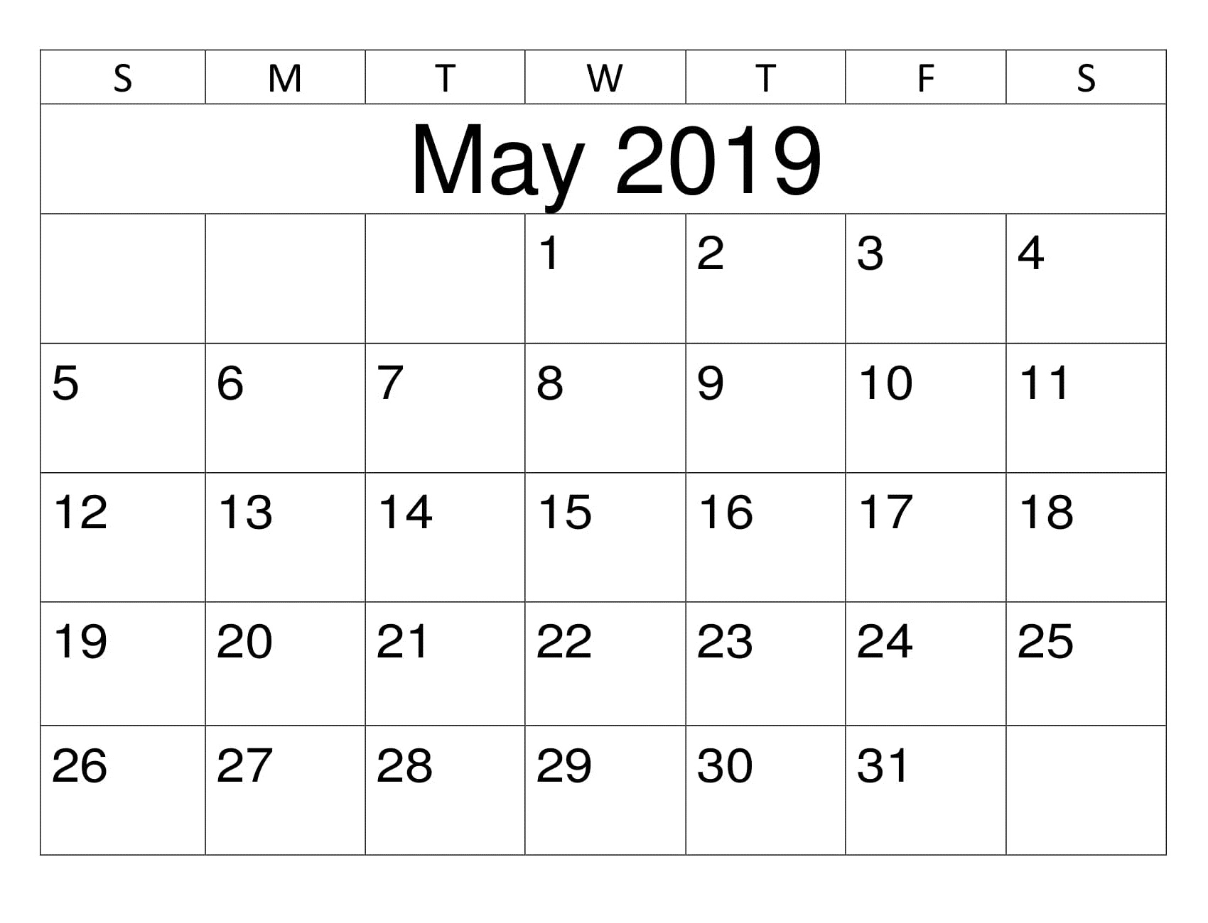 May 2019 Excel Template Calendar