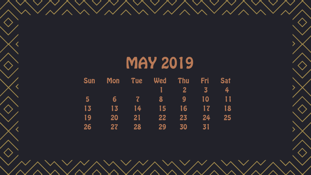 May 2019 HD Calendar Wallpaper
