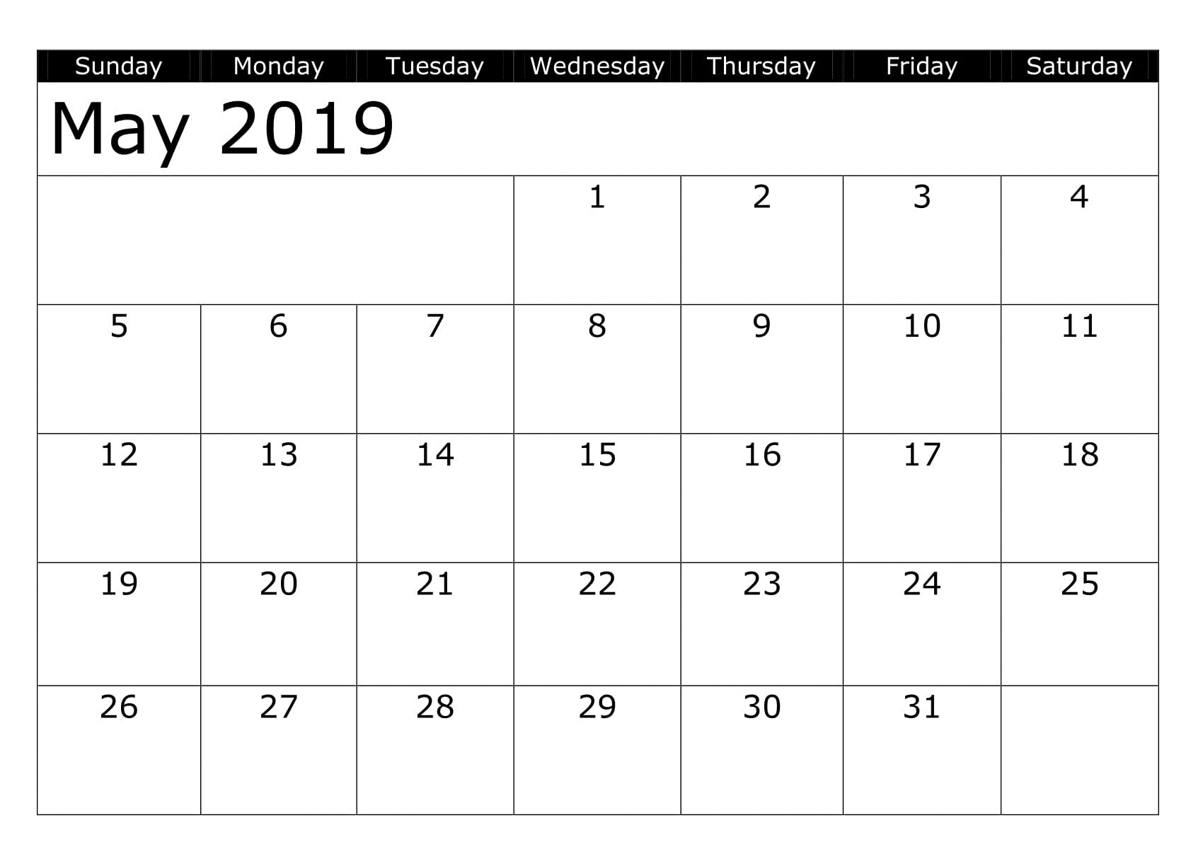 May 2019 Printable Calendar Table Download Free Printable