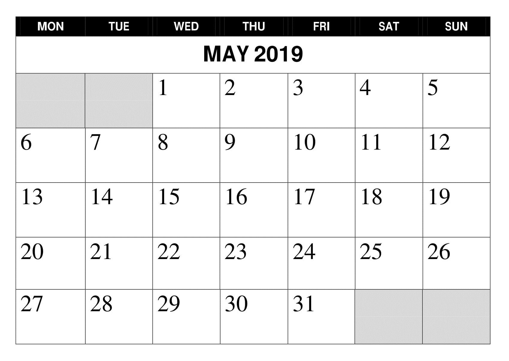 May 2019 Printable Google Calendar