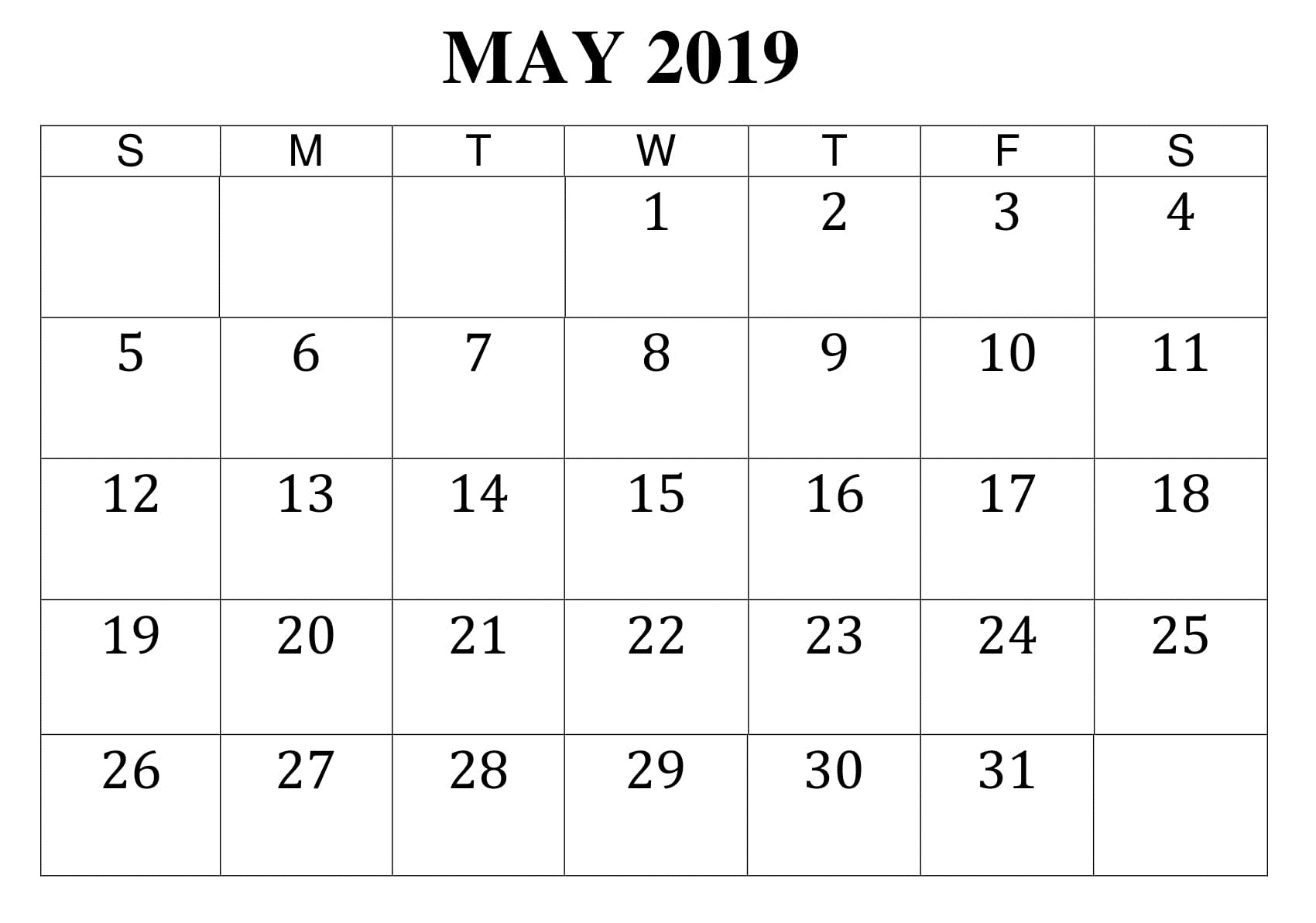 May 2019 Printable Worksheet Calendar