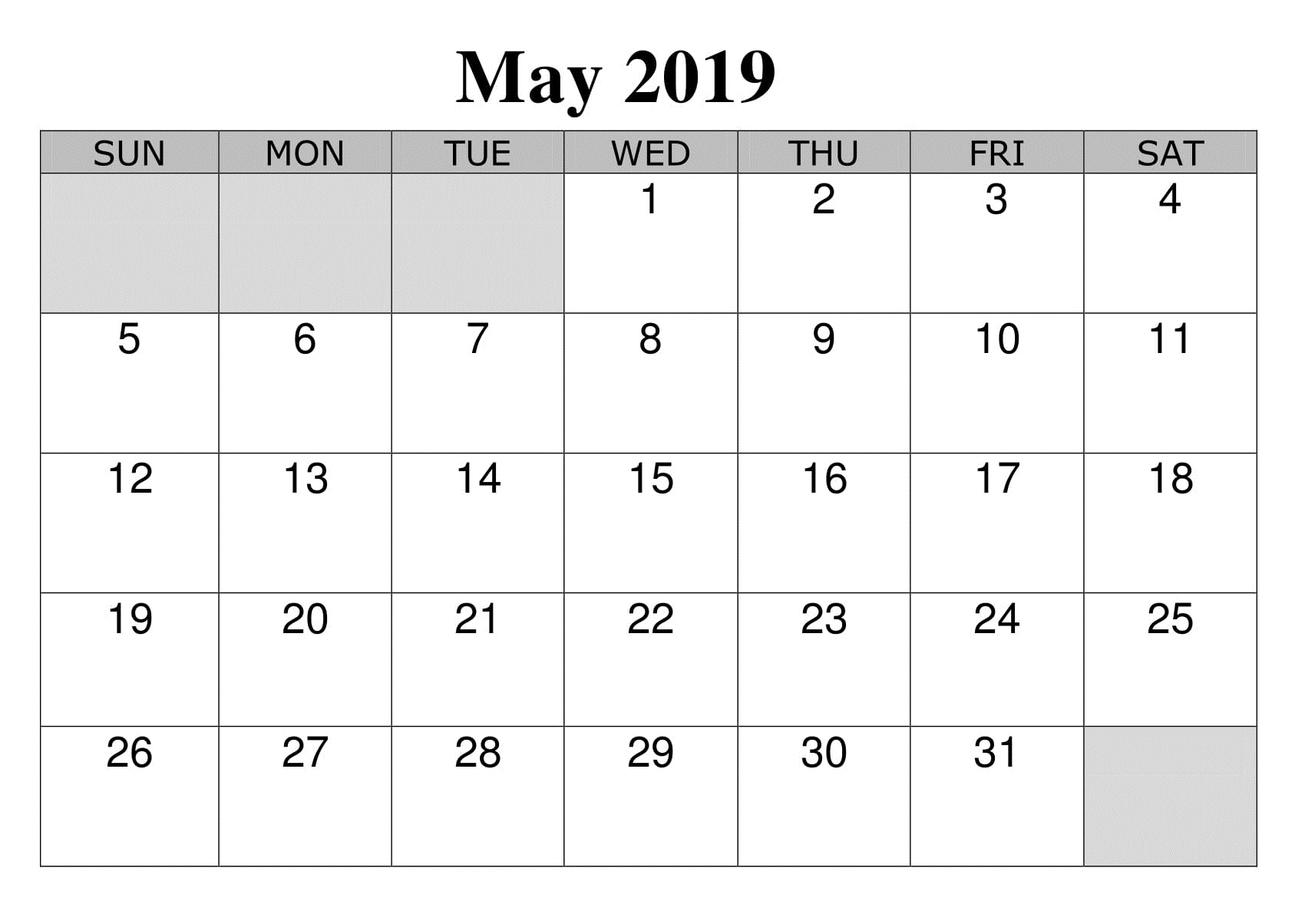 May 2019 Sheet Calendar Printable