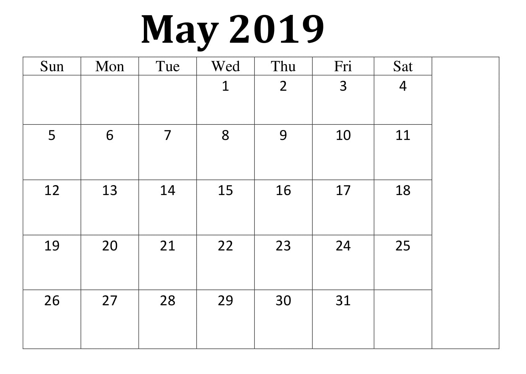 May 2019 Template Calendar Printable